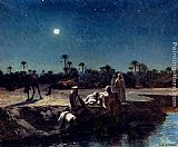 Jean Baptiste Paul Lazerges An Arab Encampment By Moonlight painting