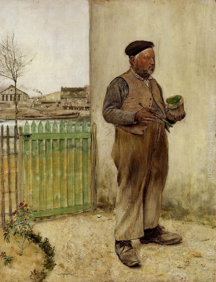 Jean Francois Raffaelli Man Having Just Painted His Fence