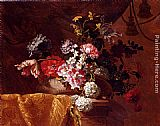 Jean-Baptiste Monnoyer Still Life Of Hydrangeas, Convolvuli, Peonies And Other Flowers In An Urn On A Draped Stone Ledge painting