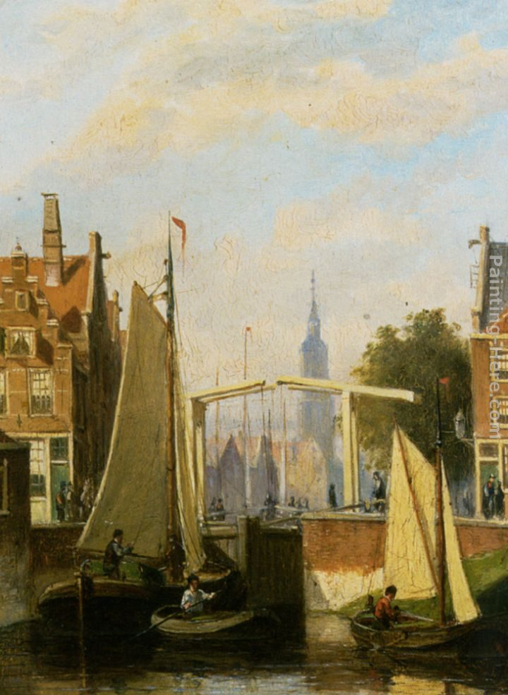 Johannes Frederik Hulk Boats on a Canal in a Dutch Town