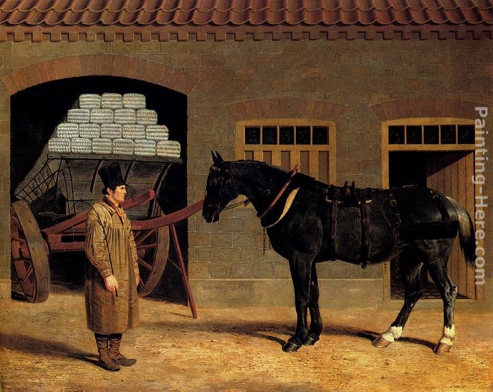 John Frederick Herring Snr A Cart Horse And Driver Outside A Stable