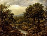 John Linnell A River Landscape, With Two Boys Fishing And A Girl Fetching Water painting