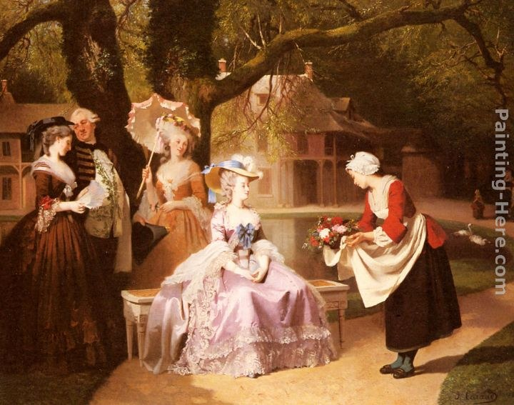 Joseph Caraud Marie Antoinette and Louis XVI in the Garden of the Tuileries with Madame Lambale