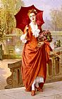 Joseph Caraud The Red Parasol painting