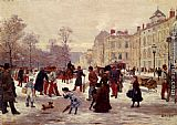 Leon Joseph Voirin A Winter's Day painting
