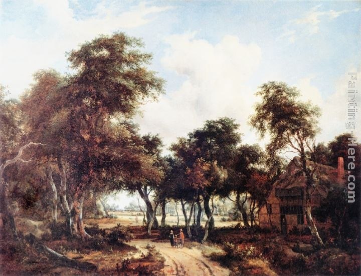 Meindert Hobbema Landscape with Woods and Cottage