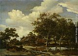 Meindert Hobbema A wooded landscape with a figure crossing a bridge over a stream painting