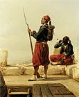 Niels Simonsen A Nubian and an Egyptian Guard in a Lookout Tower painting
