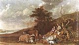 Paulus Potter Landscape with Shepherdess and Shepherd Playing Flute painting