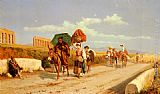 Pietro Gabrini Travellers In The Roman Campagna painting