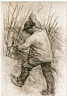 Sir George Clausen The Hedger, Cookham Dean painting