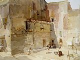 Sir William Russell Flint A Sunlit Square Languedoc painting