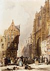 Thomas Shotter Boys Figures On A Street In A Market Town, Belgium painting