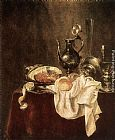 Willem Claesz Heda Ham and Silverware painting
