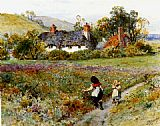 William Stephen Coleman Children Playing On A Path, Cottages Beyond painting