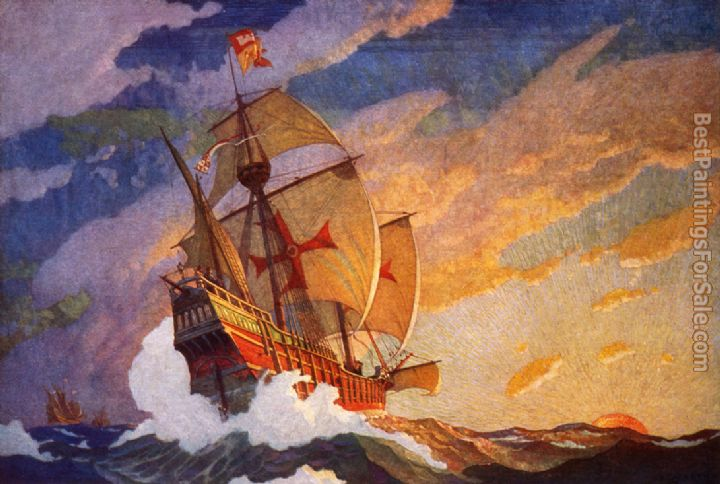2012 Columbus' Three Ships by N.C. Wyeth