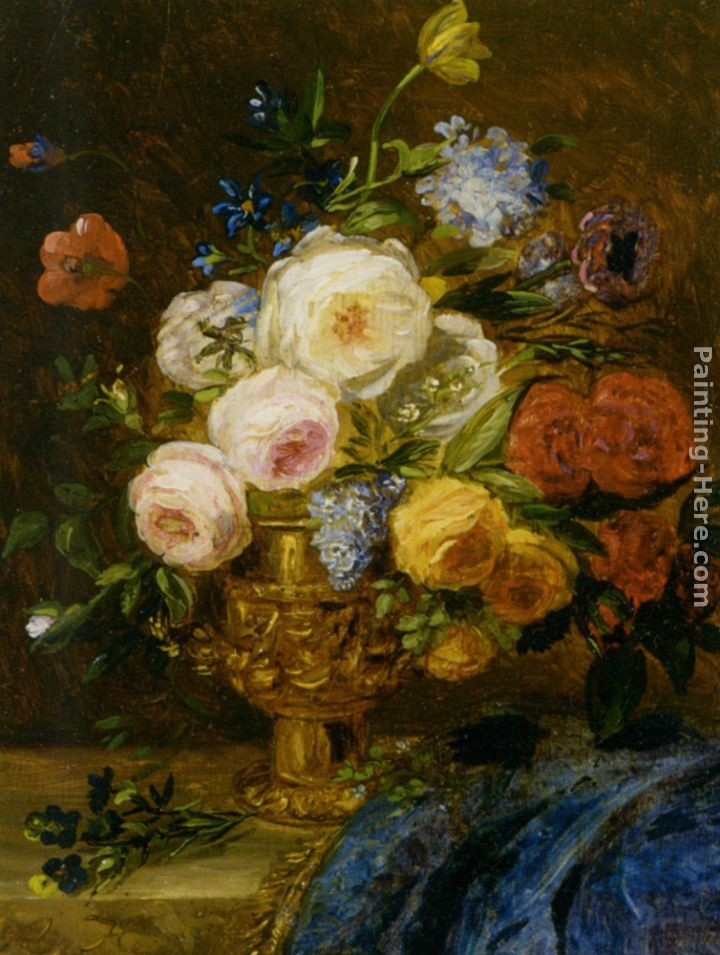 Adriana Johanna Haanen A Still Life With Flowers In A Golden Vase