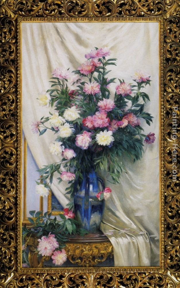Albert Aublet Peonies in a Blue Vase on a Draped Regency Giltwood Console Table