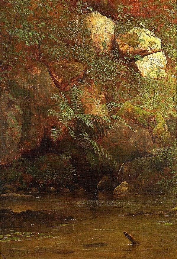 Albert Bierstadt Ferns and Rocks on an Embankment