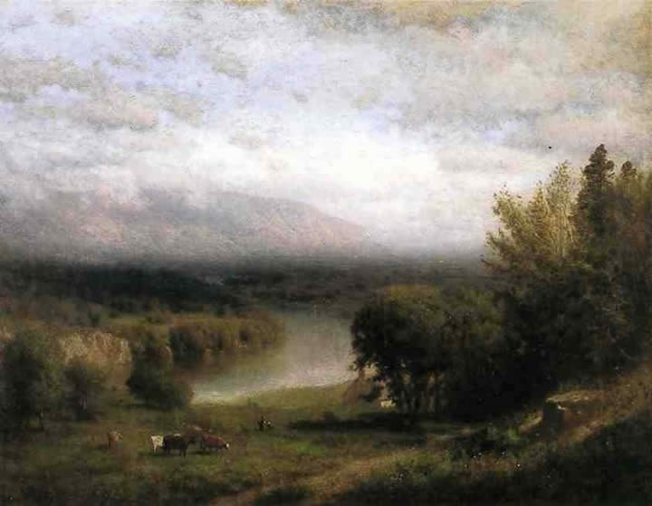 Alexander Helwig Wyant Farmhouse in a River Valley