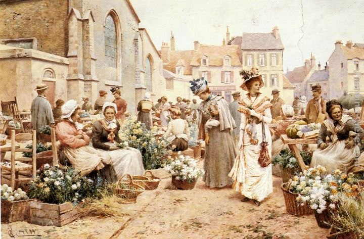 Alfred Glendening Flower Market in a French Town