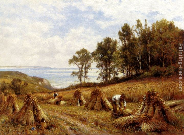 Alfred Glendening In The Cornfields, Near Luccombe, Isle Of Wight