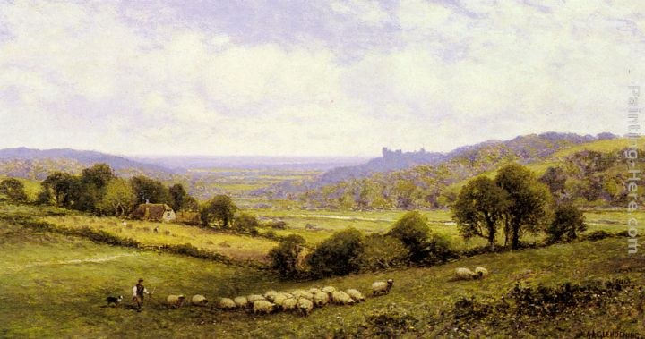 Alfred Glendening Near Amberley, Sussex, with Arundel Castle in the Distance
