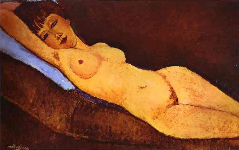 Amedeo Modigliani Reclining Nude with Blue Cushion