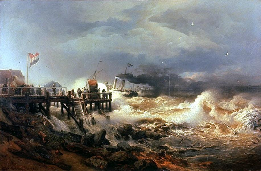 Andreas Achenbach Storm at Dutch Coast