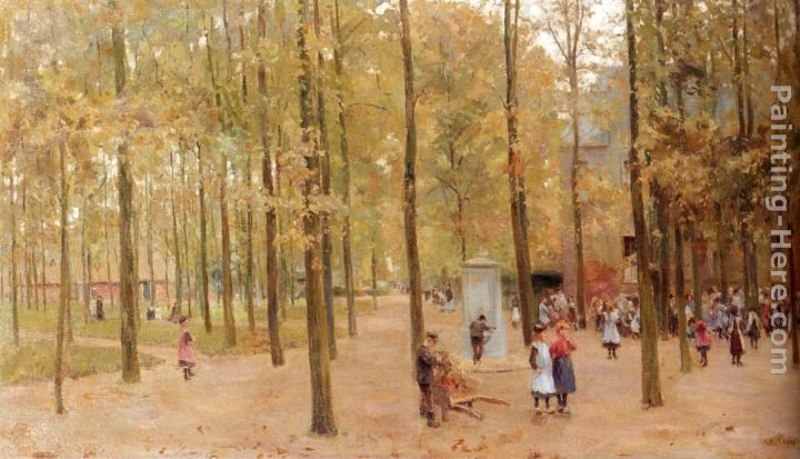 Anton Mauve The Brink In Laren With Children Playing