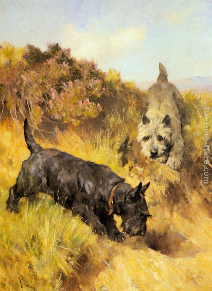 Arthur Wardle Two Scotties in a Landscape