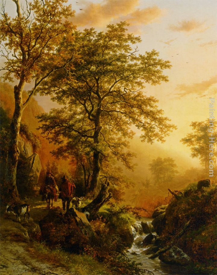 Barend Cornelis Koekkoek A traveller and a herdsman in a mountainous landscape