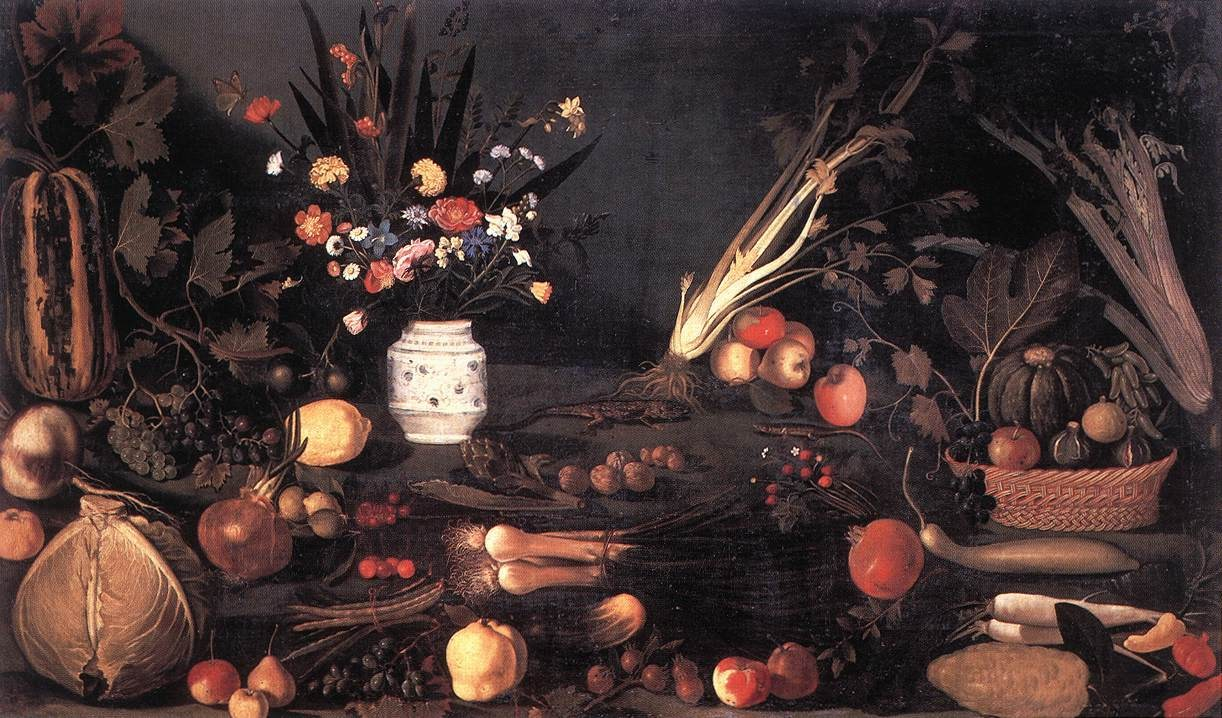 Caravaggio Still Life with Flowers and Fruit