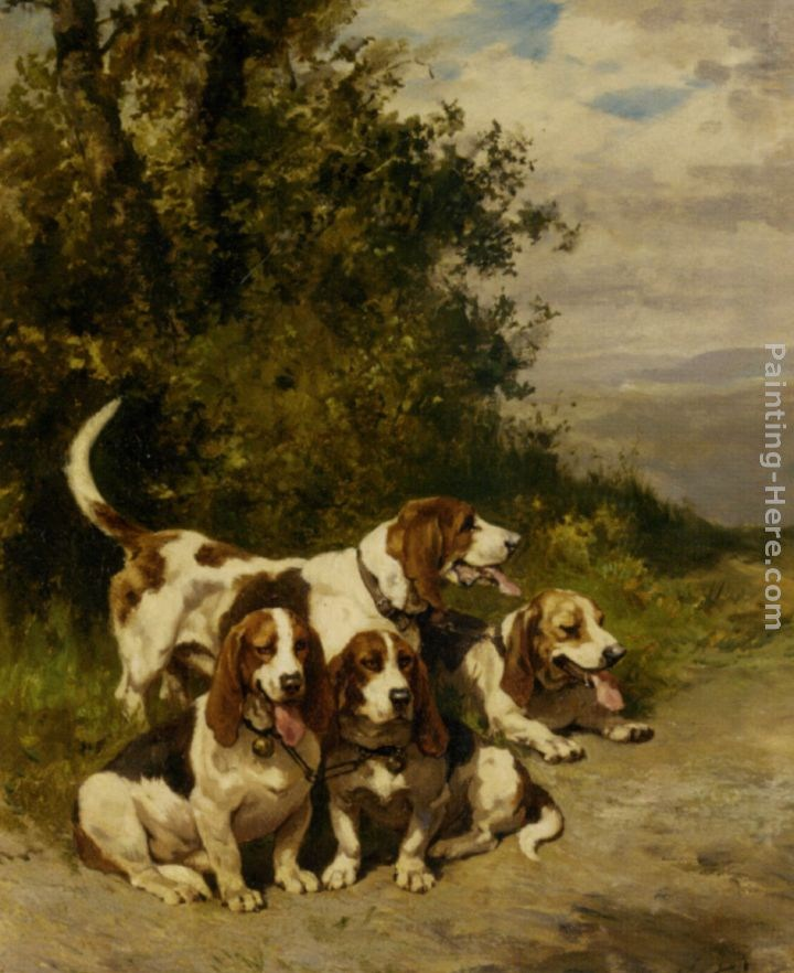 Charles Olivier De Penne Hunting with Dogs on a Forest Path