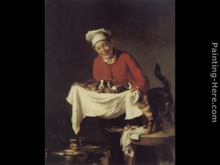 Claude Joseph Bail A Boy with Dogs and Kittens