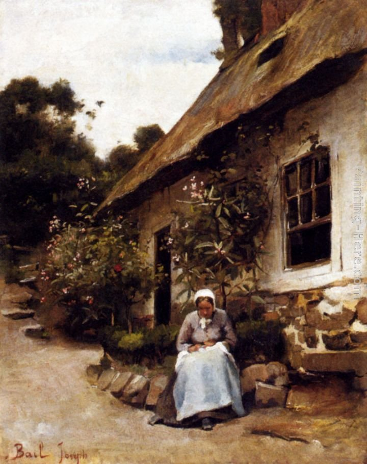 Claude Joseph Bail Woman Sewing In Front Of Her Cottage