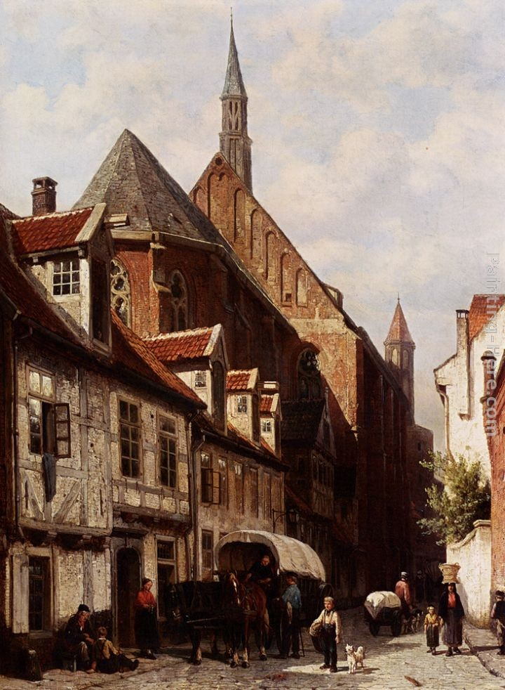 Cornelis Springer A Busy Street In Bremen With The Saint Johann Church In The Background