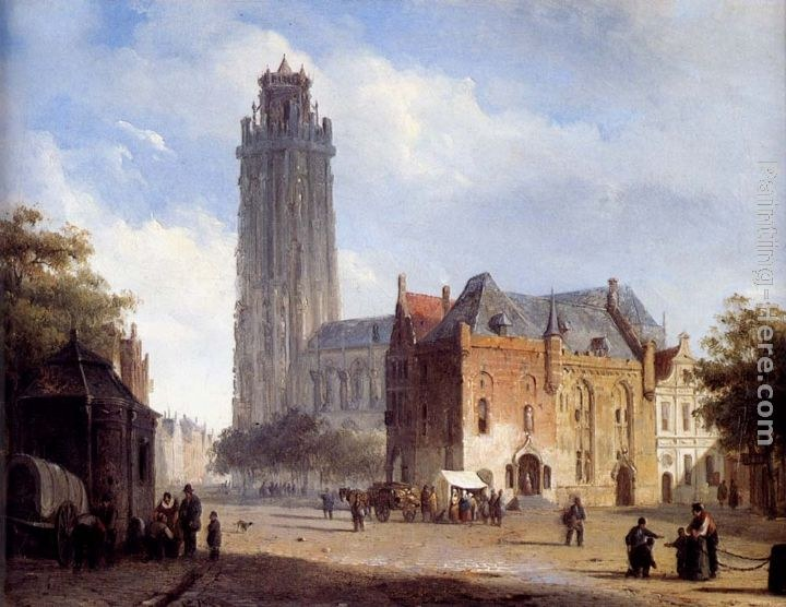 Cornelis Springer A Cathedral On A Townsquare In Summer