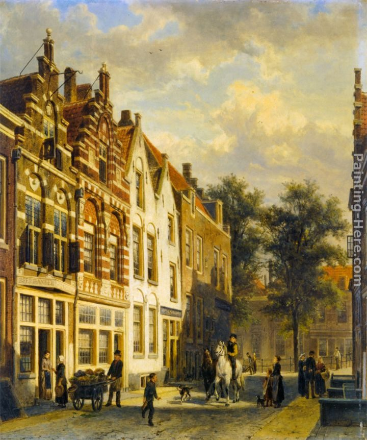 Cornelis Springer Figures in the Sunlit Streets of a Dutch Town