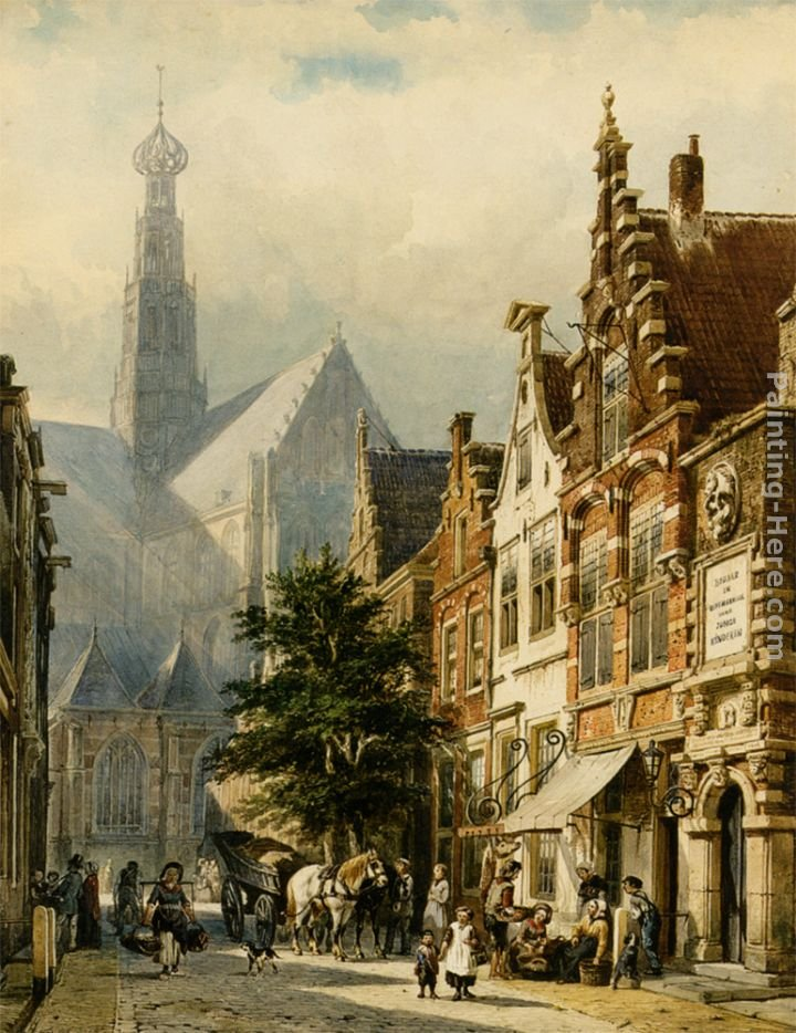 Cornelis Springer Manu figures in the streets of Haarlem