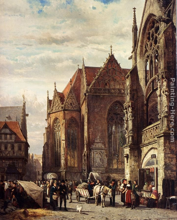 Cornelis Springer Many Figures On The Market Square In Front Of The Martinikirche, Braunschweig