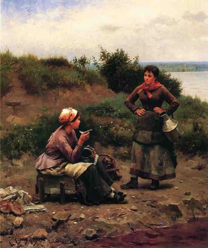 Daniel Ridgway Knight A Discussion Between Two Young Ladies