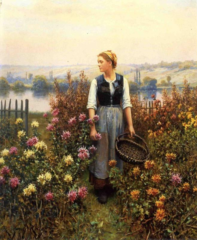 Daniel Ridgway Knight Girl with a Basket in a Garden