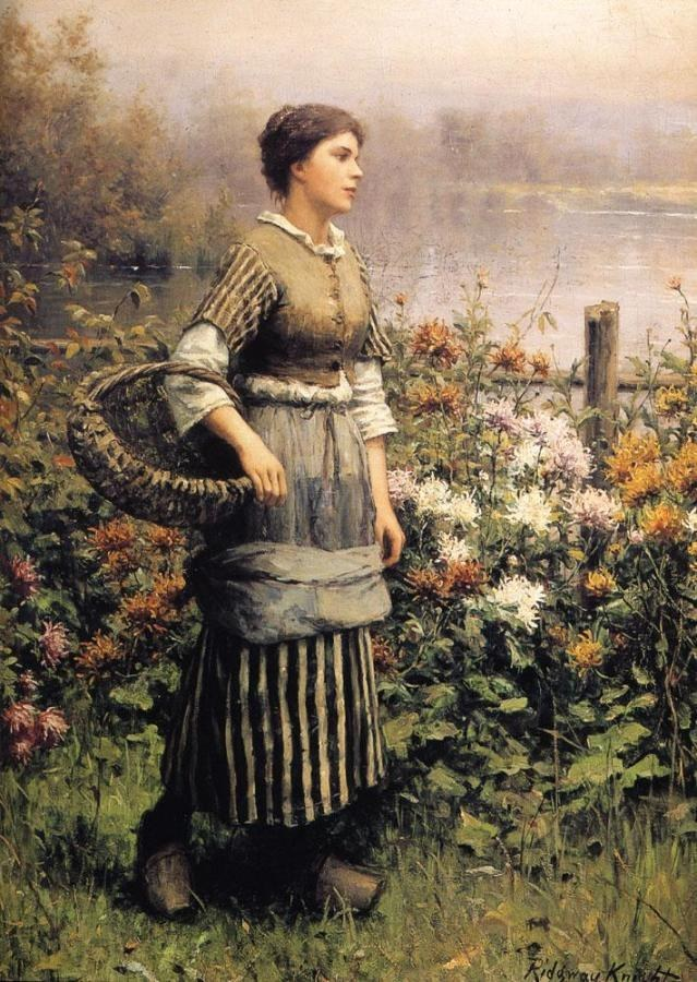 Daniel Ridgway Knight Maid Among the Flowers