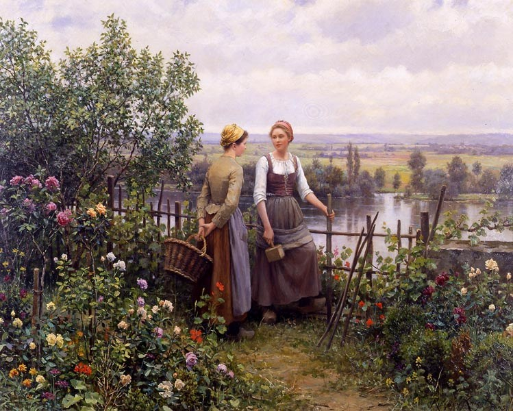 Daniel Ridgway Knight Maria and Madeleine on the Terrace