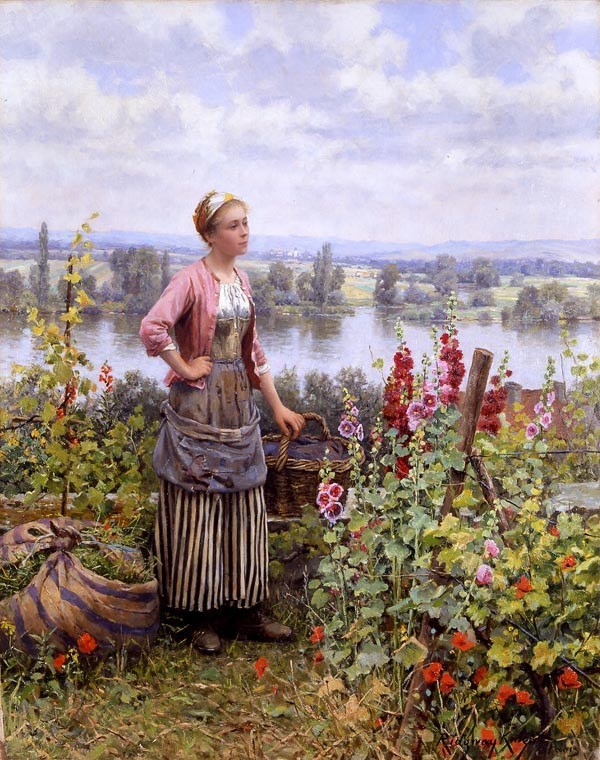 Daniel Ridgway Knight Maria on the Terrace with a Bundle of Grass