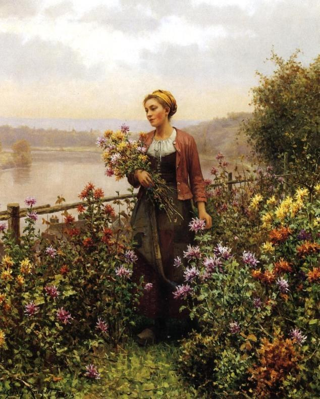 Daniel Ridgway Knight Woman in a Garden