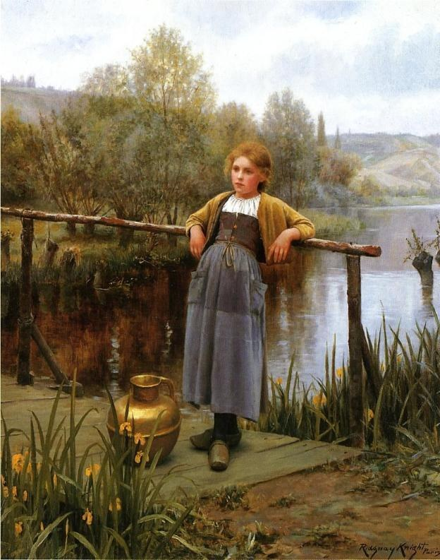 Daniel Ridgway Knight Young Girl by a Stream