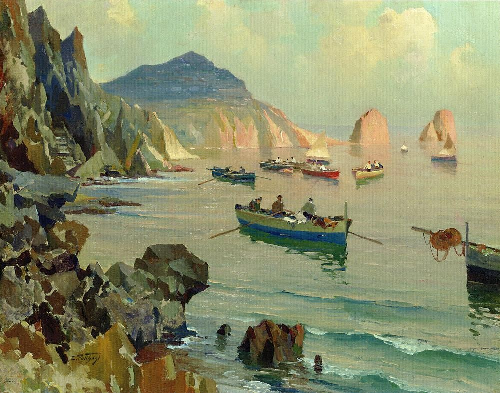 Edward Henry Potthast Boats in a Rocky Cove