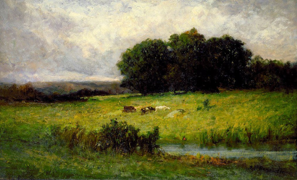 Edward Mitchell Bannister Bright Scene of Cattle near Stream
